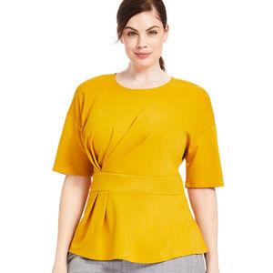 Eloquii Mustard asymmetric pleated top blouse 16